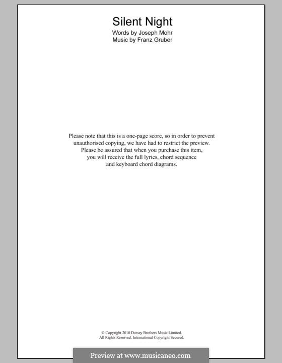 Тихая ночь (ноты для печати): Текст и аккорды для фортепиано by Франц Ксавьер Грубер
