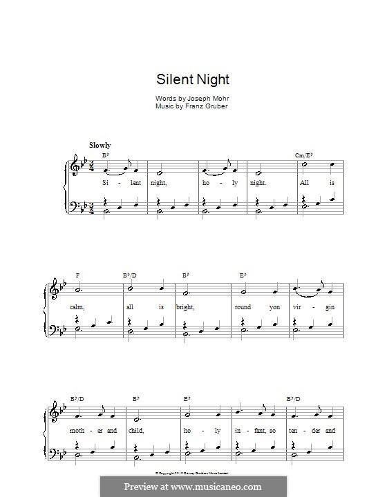 Тихая ночь (ноты для печати): Для голоса и фортепиано или гитары (си бемоль мажор) by Франц Ксавьер Грубер