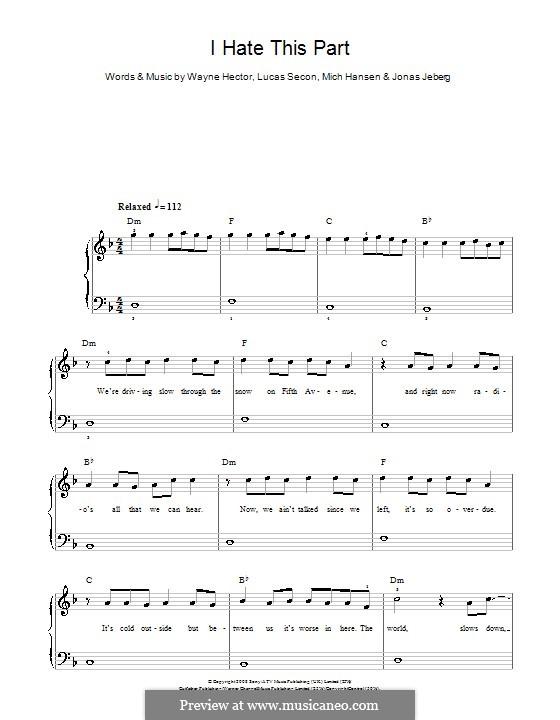 I Hate This Part (Pussycat Dolls): Для фортепиано (легкий уровень) by Jonas Jeberg, Lucas Secon, Mich Hansen, Wayne Anthony Hector
