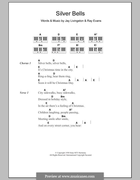 Silver Bells: Текст и аккорды для фортепиано by Jay Livingston, Raymond Evans