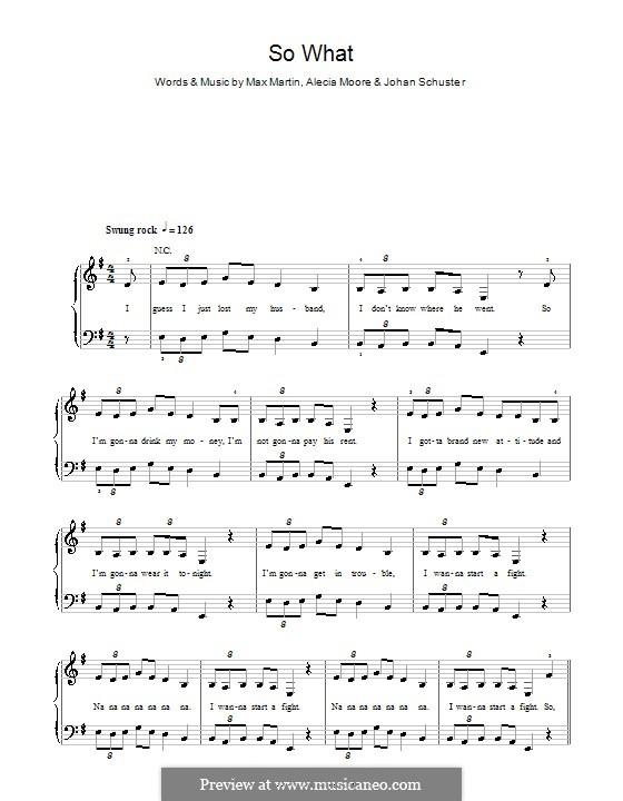 So What (Pink): Для фортепиано (легкий уровень) by Shellback, Alecia Moore, Max Martin