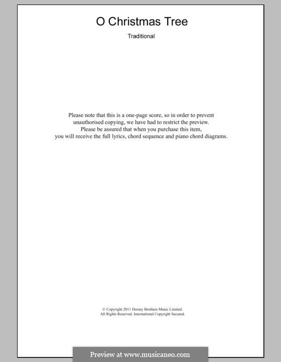 O Christmas Tree, (Printable Scores): Текст и аккорды для фортепиано by folklore