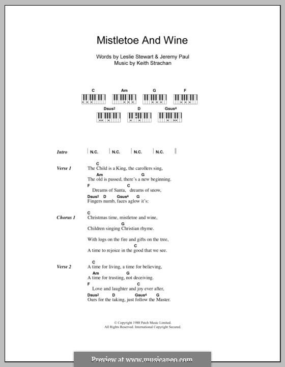 Mistletoe and Wine (Cliff Richard): Текст и аккорды для фортепиано by Keith Strachan