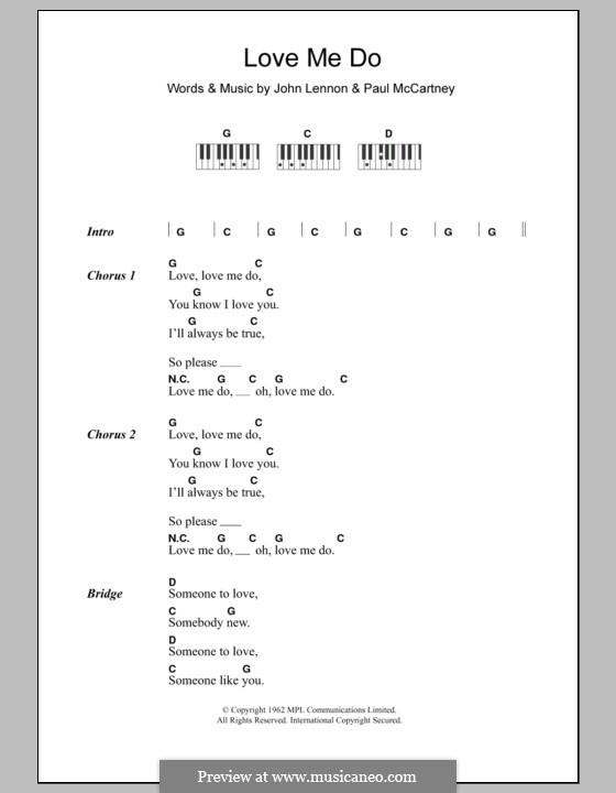 Love Me Do (The Beatles): Текст и аккорды для фортепиано by John Lennon, Paul McCartney