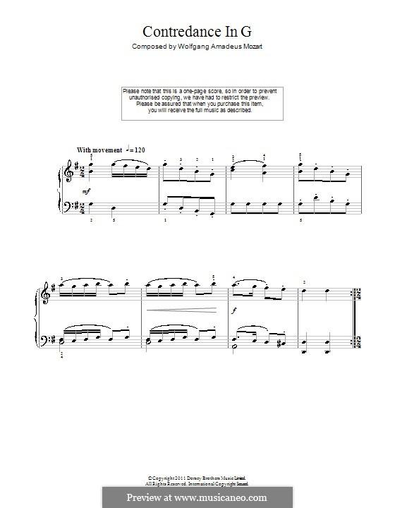 Контрданс для фортепиано соль мажор: Для одного исполнителя by Вольфганг Амадей Моцарт