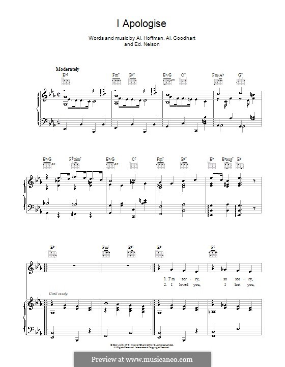 I Apologise: Для голоса и фортепиано (или гитары) by Ed G. Nelson, Al Goodhart, Al Hoffman