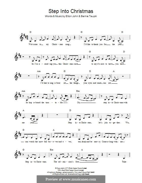 Step Into Christmas: Мелодия, текст и аккорды by Elton John