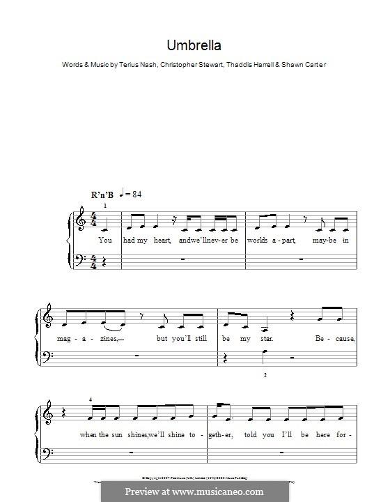 Umbrella (Rihanna featuring Jay-Z): Для фортепиано (легкий уровень) by Tricky Stewart , Jay-Z, Terius Nash, Kuk Harrell