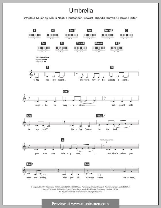Umbrella (Rihanna featuring Jay-Z): Для клавишного инструмента by Tricky Stewart , Jay-Z, Terius Nash, Kuk Harrell