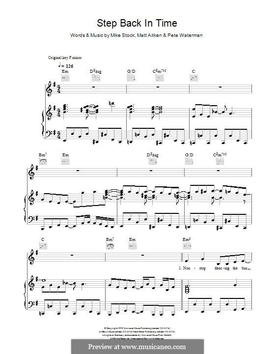 Step Back in Time (Kylie Minogue): Для голоса и фортепиано (или гитары) by Matt Aitken, Mike Stock, Pete Waterman
