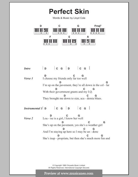 Perfect Skin: Текст и аккорды для фортепиано by Lloyd Cole