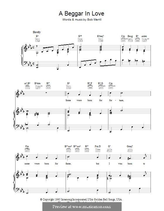 A Beggar in Love: Для голоса и фортепиано (или гитары) by Bob Merrill