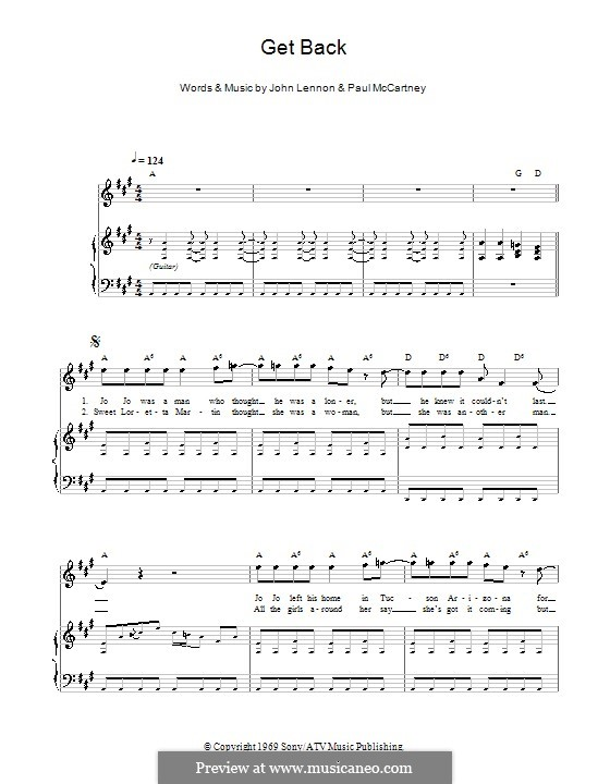 Get Back (The Beatles): Для голоса и фортепиано (или гитары) by John Lennon, Paul McCartney