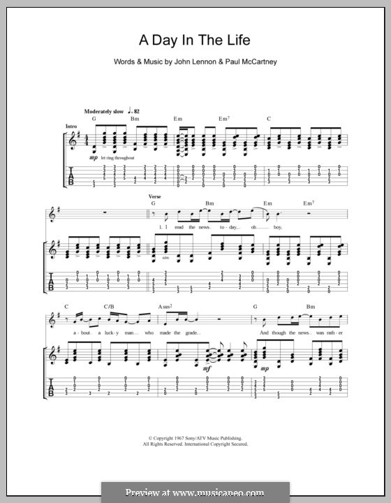 A Day in the Life (The Beatles): Гитарная табулатура by John Lennon, Paul McCartney