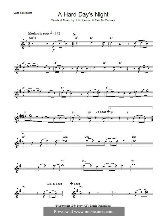 A Hard Day's Night (The Beatles): Для альтового саксофона by John Lennon, Paul McCartney