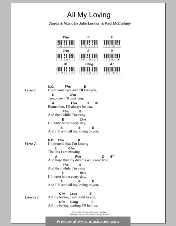All My Loving (The Beatles): Lyrics and piano with chords by John Lennon, Paul McCartney