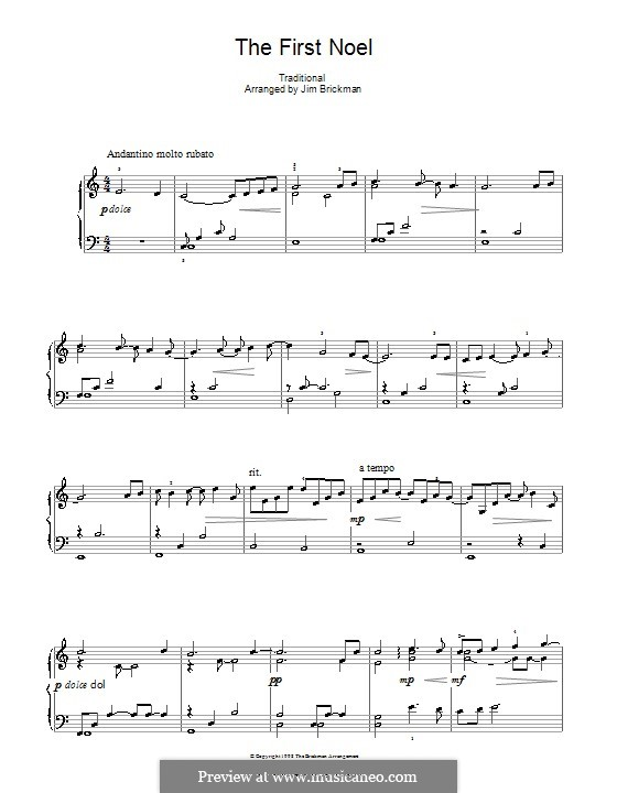 The First Nowell (The First Noël), for Piano: До мажор by folklore