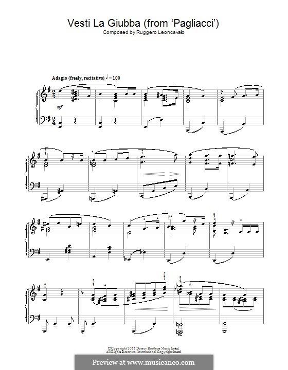Паяцы: Vesti la Giubba. Version for piano by Руджеро Леонкавалло
