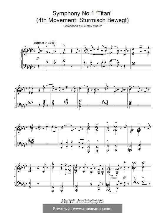 Симфония No.1 ре мажор 'Титан': Часть IV. Версия для фортепиано by Густав Малер