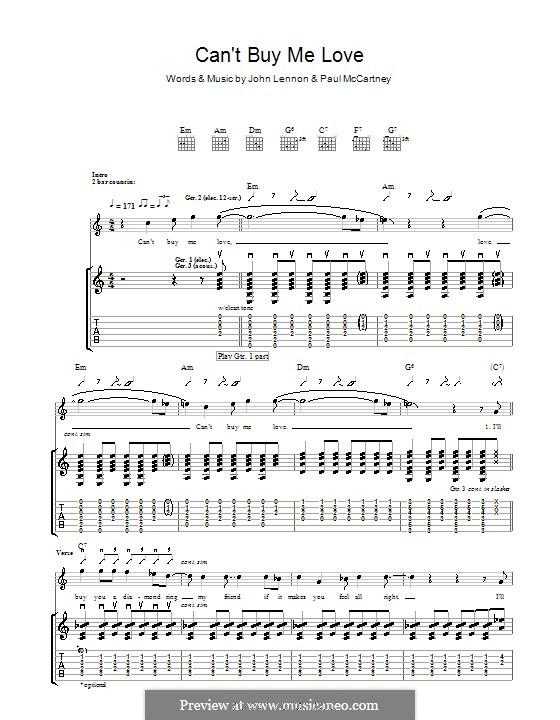 Can't Buy Me Love (The Beatles): Гитарная табулатура by John Lennon, Paul McCartney
