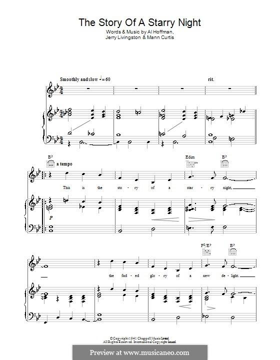 The Story of a Starry Night: Для голоса и фортепиано (или гитары) by Al Hoffman, Jerry Livingston, Manny Kurtz