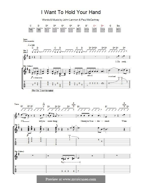 I Want to Hold Your Hand (The Beatles): Для гитары by John Lennon, Paul McCartney