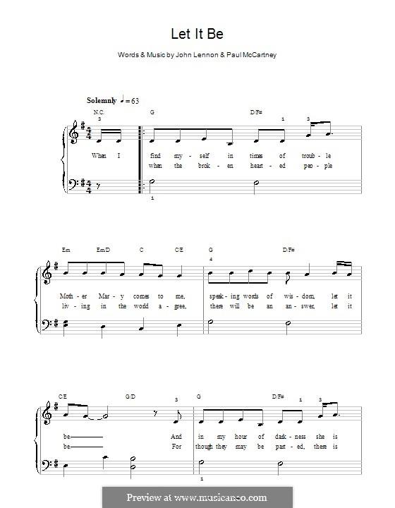 Let it Be, for Piano: Easy version (G Major) by John Lennon, Paul McCartney