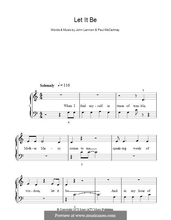 Let it Be, for Piano: Easy version by John Lennon, Paul McCartney
