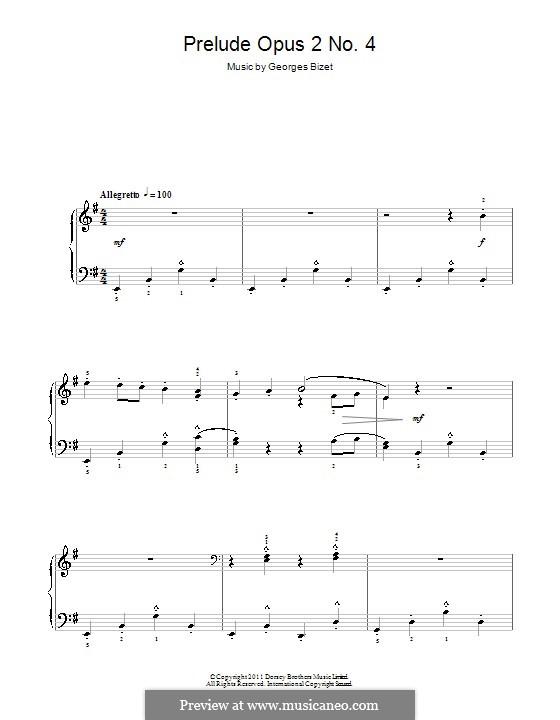Прелюдия ми минор, Op.2 No.4: Прелюдия ми минор by Жорж Бизе