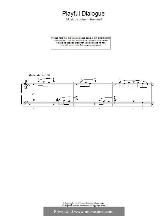 Playful Dialogue: Для фортепиано by Иоганн Непомук Гуммель