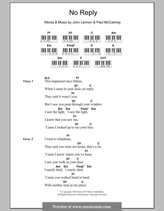 No Reply (The Beatles): Текст и аккорды для фортепиано by John Lennon, Paul McCartney