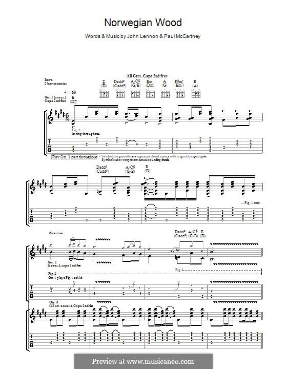 Norwegian Wood (This Bird Has Flown): Гитарная табулатура by John Lennon, Paul McCartney