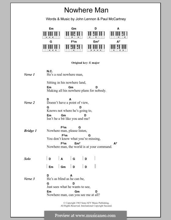 Nowhere Man (The Beatles): Текст и аккорды для фортепиано by John Lennon, Paul McCartney