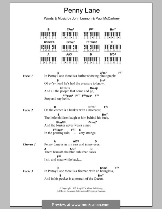 Penny Lane (The Beatles): Текст и аккорды для фортепиано by John Lennon, Paul McCartney