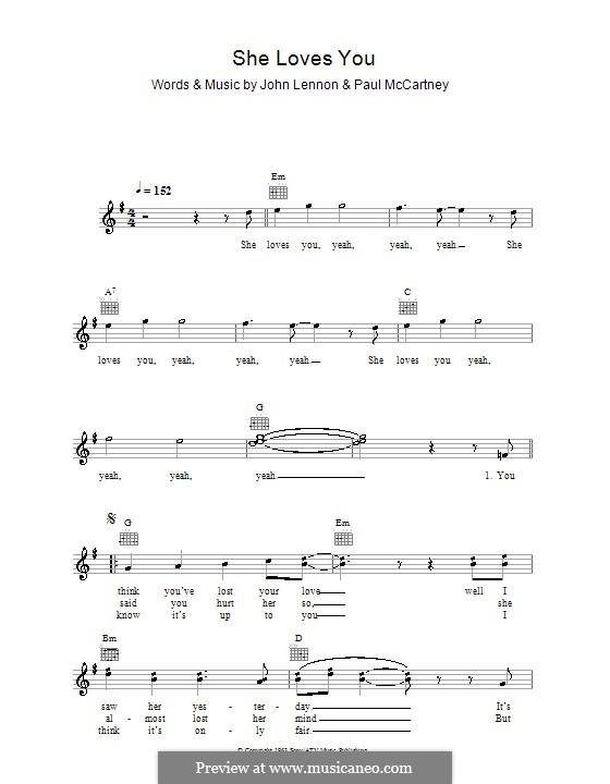 She Loves You (The Beatles): Мелодия, текст и аккорды by John Lennon, Paul McCartney