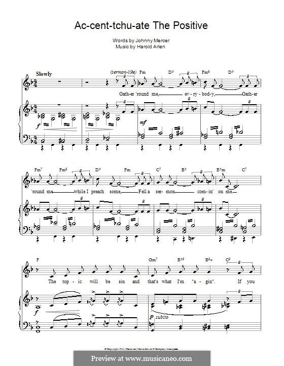 Ac-cent-tchu-ate the Positive: Для голоса и фортепиано (или гитары) by Harold Arlen