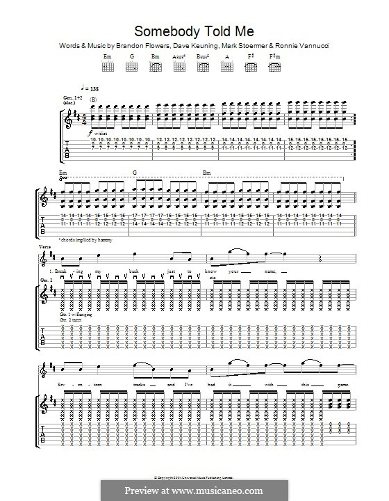 Somebody Told Me (The Killers): Гитарная табулатура by Brandon Flowers, Dave Keuning, Mark Stoermer, Ronnie Vannucci