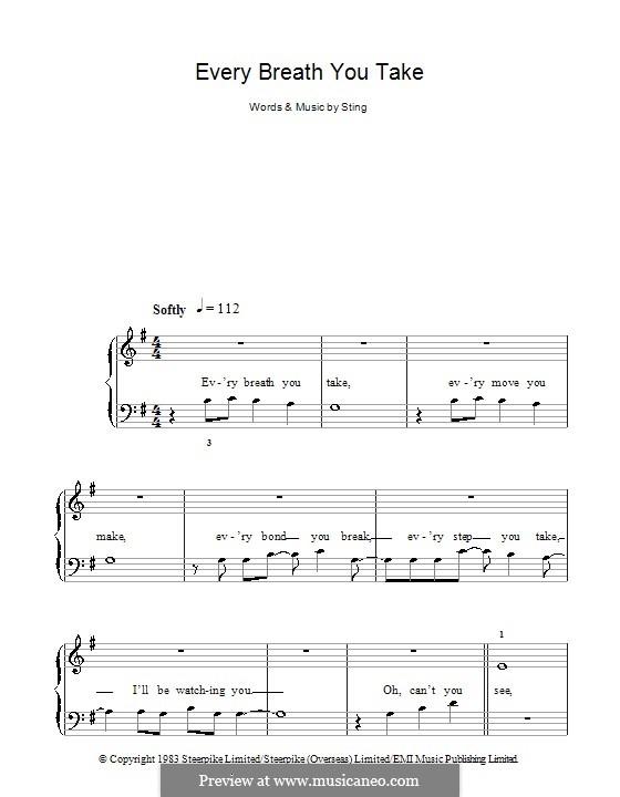 Every Breath You Take (The Police): Для фортепиано (легкий уровень) by Sting