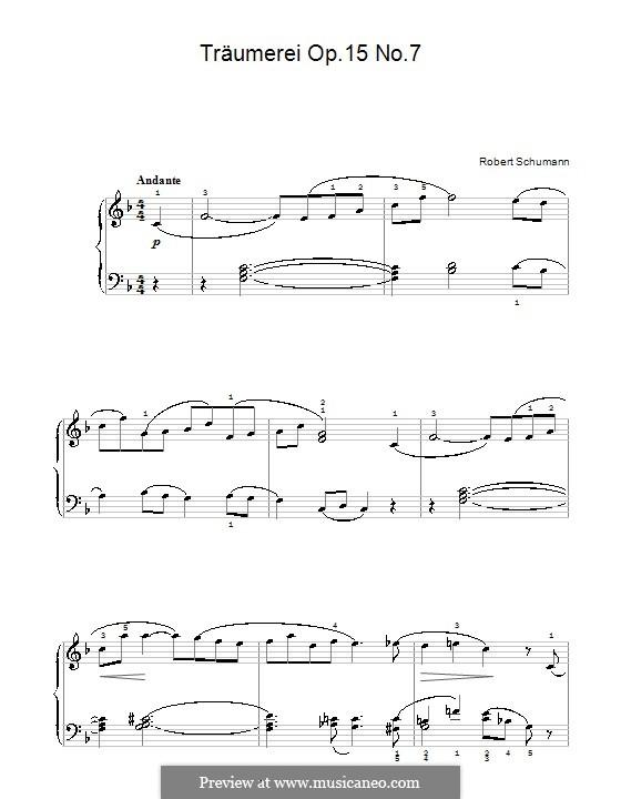 No.7 Грезы: Для фортепиано (легкий уровень, с аппликатурой) by Роберт Шуман