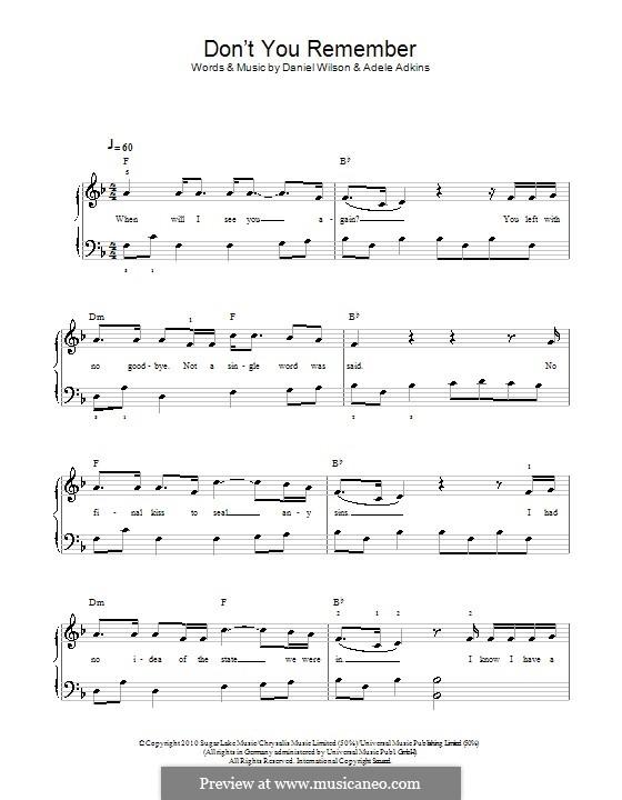Don't You Remember: Для начинающего пианиста by Adele, Daniel Wilson