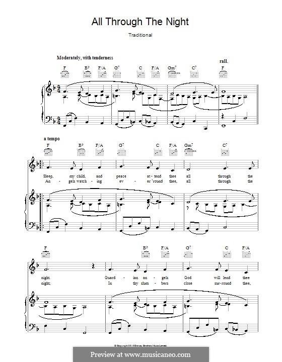All Through the Night: Для голоса и фортепиано или гитары (фа мажор) by folklore
