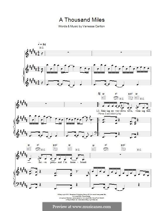 A Thousand Miles: Для голоса и фортепиано by Vanessa Carlton