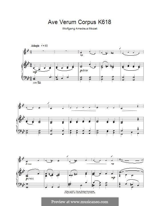 Ave verum corpus (Printabel Scores), K.618: Для кларнета и фортепиано by Вольфганг Амадей Моцарт