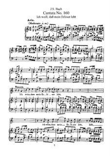 Ich weiss, dass mein Erlöser lebt, BWV 160: Клавир с вокальной партией by Иоганн Себастьян Бах