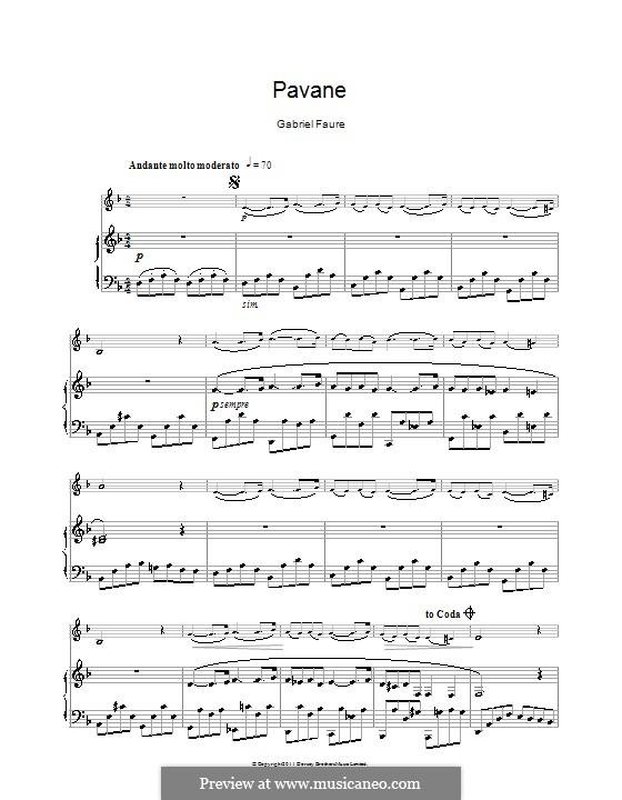 Павана, Op.50: Для кларнета и фортепиано by Габриэль Форе