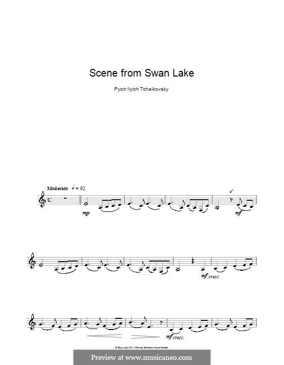 No.14 Сцена: Переложение для кларнета и фортепиано – сольная партия (Тема) by Петр Чайковский