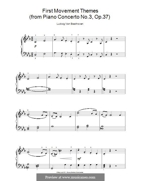 Концерт для фортепиано с оркестром No.3, Op.37: Часть I (Theme). Version for easy piano by Людвиг ван Бетховен