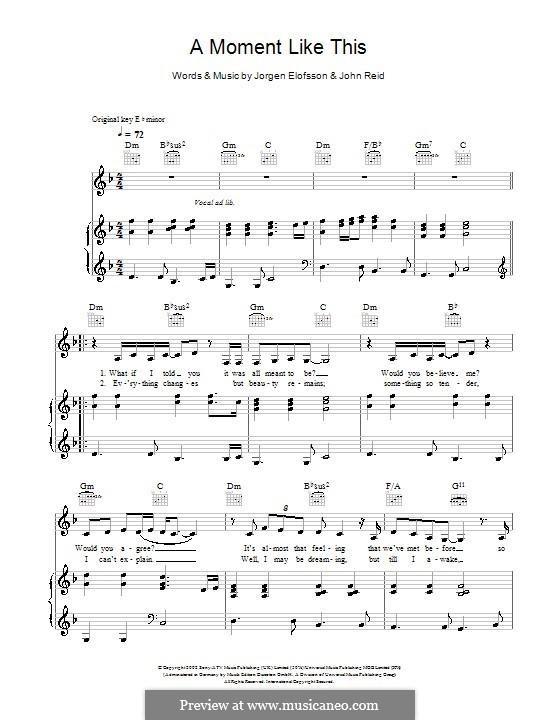 A Moment Like This: Для голоса и фортепиано или гитары (Leona Lewis) by John Reid, Jörgen Kjell Elofsson