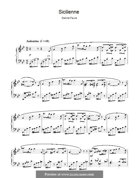 Сицилиана для виолончели и фортепиано, Op.78: Версия для фортепиано by Габриэль Форе