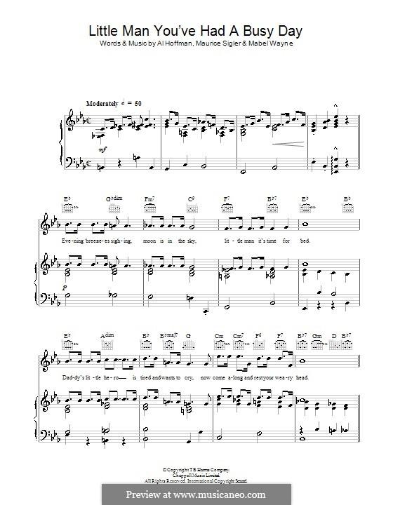 Little Man You've Had a Busy Day (Paul Robeson): Для голоса и фортепиано (или гитары) by Al Hoffman, Mabel Wayne, Maurice Sigler